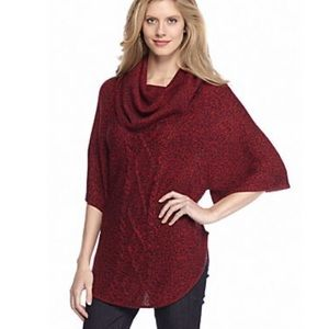 New Directions Weekend Marled Cowl neck poncho